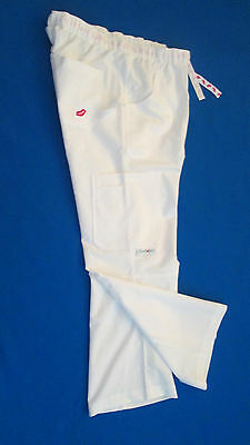 Womens white pants Cargo scrub uniform nurse  adjustable waist USA Made NEW NWT