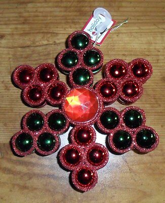 Holiday Time Colorful Red & Green Christmas Ornament NEW