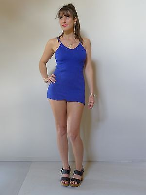 Vintage 30s authentic 12 M Excellent blue wool knit swimsuit glamor deco