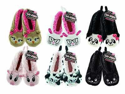 Womens/Girls 3D Animal Cosy Slippers Gripper Sole 4-6 eur 36-39 6 designs