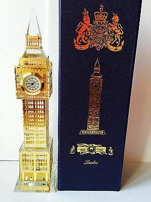 London Big Ben Clock Gold Plated Crystal With Colourful Lights Souvenir Gift
