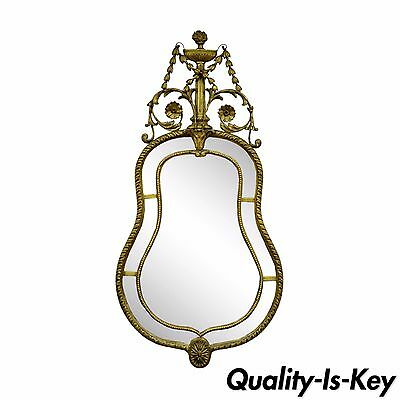 Antique Italian Gold Gilt French Adams Style Carved Wood & Gesso Wall Mirror