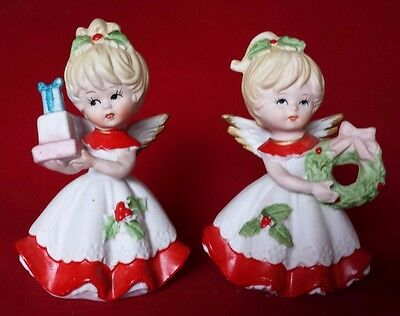 SET 2 HOMCO #5402 BISQUE PORCELAIN CHRISTMAS ANGEL FIGURINES Blonde Girls RED