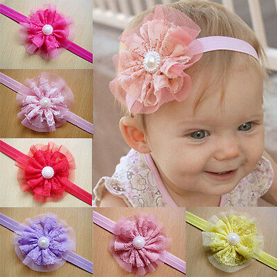 12x Baby Girls Hairband Lace Flower Band Headband Hair Accessories Band Headwear