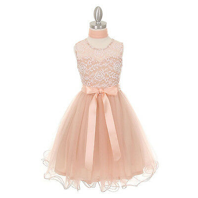 BLUSH Flower Girl Dresses Birthday Wedding Bridesmaid Formal Graduation Party