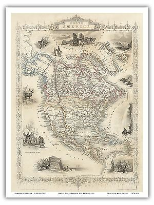 North America Vintage Colored Engraved Cartographic Map Art Poster Print