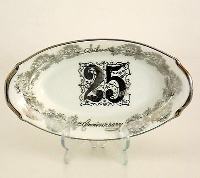 Vintage Norcrest Fine China 25Th Silver Anniversary Oval Dish B-608