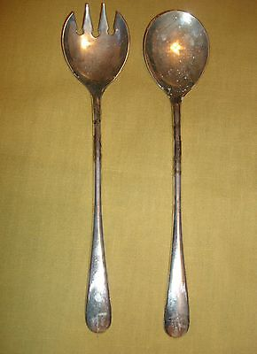 Silver Plated Spoon and Fork Salad Serving Set