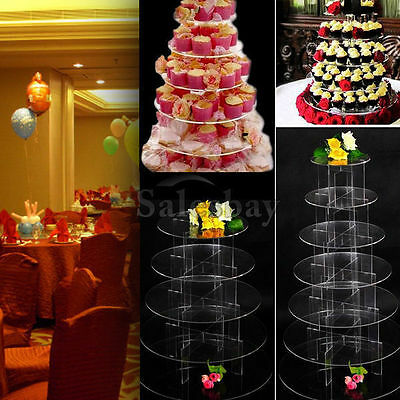 Multi Tier Clear Acrylic Round Cake Cupcake Stand Birthday Wedding Party Display
