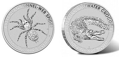 2 Perth SILVER COINS Australia 2014 Salt Water Crocodile, 2015 Funnel Web Spider