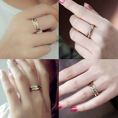 3in1 Band Titanium Steel Gold&Rose Gold&Silver Rings Fashion 3Pcs/Set Jewelry