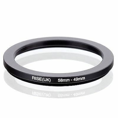 RISE(UK) 58mm-49mm 58-49 mm 58 to 49 Step down Ring Filter Adapter black