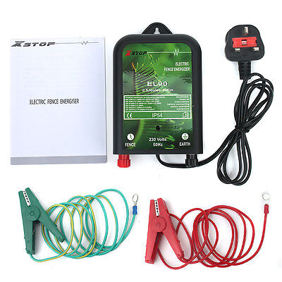 FULL SET 12v Battery 2Km Range Electric Fence Energiser 0.25J BA25+stake+conn *