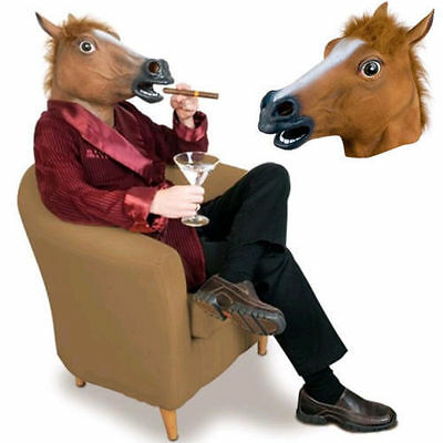 Horse Head Mask Latex Animal Costume Prop Gangnam Style Toys Party Halloween LO
