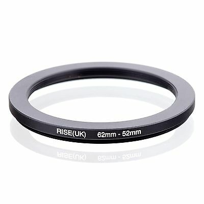 RISE(UK) 62mm-52mm 62-52 mm 62 to 52 Step down Ring Filter Adapter black