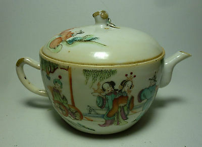 Chinese Antique Porcelain Teapot Tongzhi Mark Figures Horse Wheelchair Priest