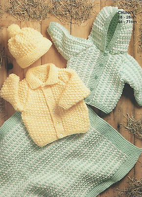 baby childrens jackets hat and blanket chunky knitting pattern 39