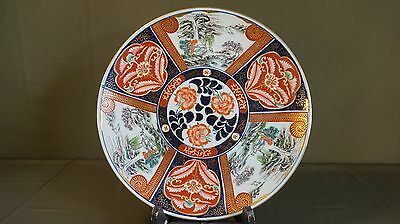Fine Early 1900 Large Japanese Polychrome Landscape Imari Plate Signed