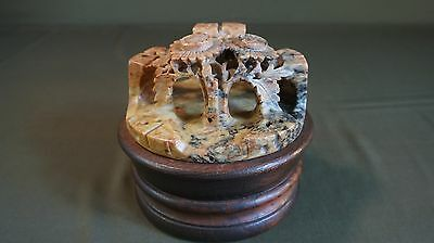 Very Fine Beautifully Carved  Chinese Soft Stone Landscape on Stand