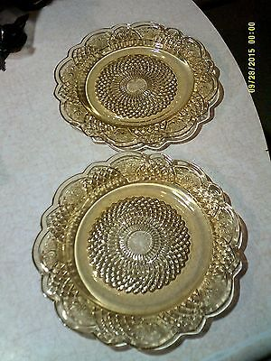 2 Federal Gass Mayfair Amber Dinner Plates 9 1/2""
