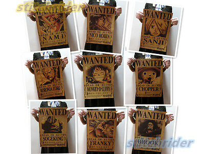 9PCS Of One Piece Straw Hat Pirates Wanted Vintage Poster Wall decor 12''x16''