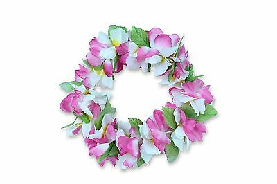 Hawaiian Lei Party Luau Haku Head Band Elastic Royal Plumeria White Pink