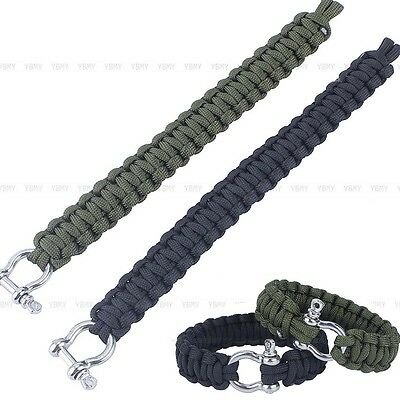 Military 550 Paracord Woven Survival Bracelet Stainless Steel Buckle Kit Outdoor