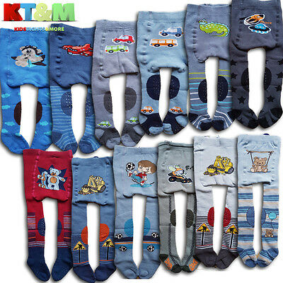 Baby Boys Crawling Terry Cotton Tights ABS Sole Rubberised Anti Slip Knees 3-6m