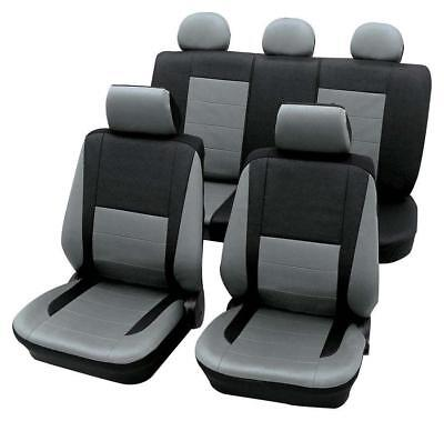 Leather Look Grey & Black Car Seat Covers - For Bmw 3 1998 to 2005
