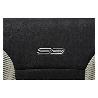 Beige & Black Leather Look Car Seat Covers - For Nissan Micra 2000-2002-Washable