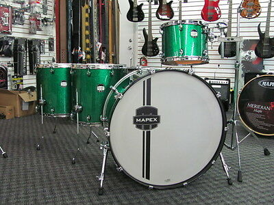"Mapex MyDentity Drum Set 100% Maple Custom Green Sparkle Zep Bonham 26"" Bass 4pc"