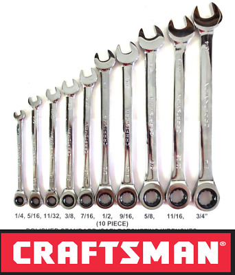 NEW CRAFTSMAN 10 pc PIECE RATCHETING WRENCH SET POLISHED STANDARD SAE INCH