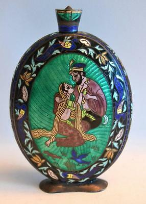 19th Century Indian Silver and Enamel Small Flask