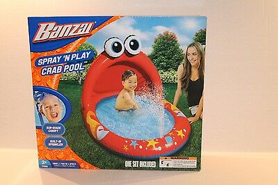 Banzai Spray 'N Play Crab Pool Inflatable Swimming Outdoor Water Play NEW