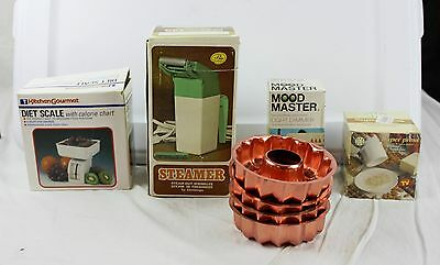 Lot of 8 Vintage Household Items Diet Scale Steamer Mood Master Copper Molds