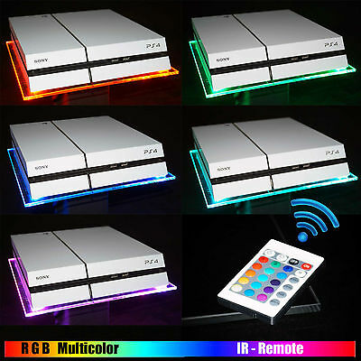 RGB LED USB Design Acryl Plexiglas Ständer Stand Tablet PS4 Playstation 4 PS3