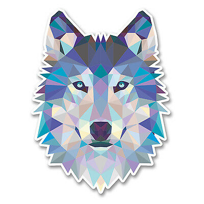 2 x Abstract Husky Wolf Vinyl Sticker Laptop Tablet Car Dog Animal Gift #6214/SV