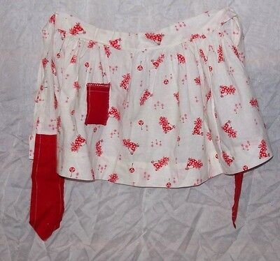 Vintage Childs 1920's Red Bear On Scooter 1/2 Apron