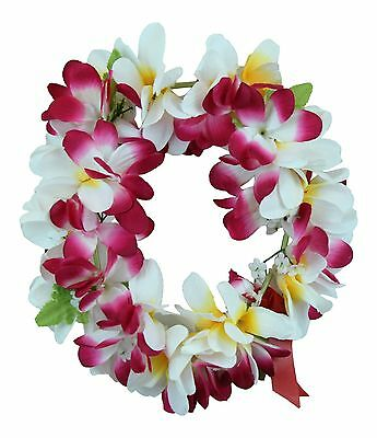 Hawaiian Lei Party Luau Haku Elastic Plumeria Silk Fabric Flower White Pink