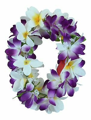 Hawaiian Lei Party Luau Haku Elastic Plumeria Silk Fabric Flower Purple White