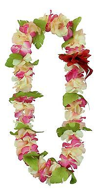 Hawaiian Lei Party Luau Floral Hibiscus Flower Dance Necklace Peach Pink Red