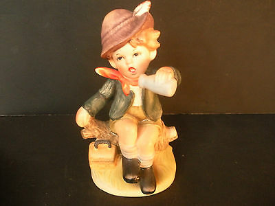 """Vintage Napco """"Boy with lunch and bottle to drink from"""" Figurine - Made in Japan"""
