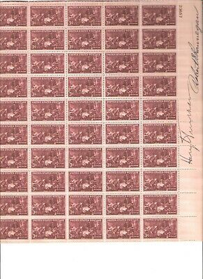 3 Cent 1947  Doctors  Stamp Page Signed President Harry Truman & Postmaster H