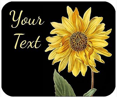Mouse Pad Custom Personalized Thick Mousepad-Sunflower 1-Any Text