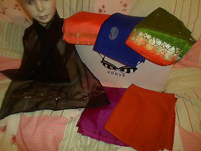 6 NEW Colourful Mixed Fibre Scarves Asian Pakistani Indian Short Duppata  #19