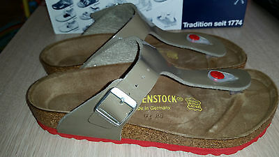 Reduced - Birkenstock - Gizeh - Fossel Varnish With Red Soles Rrp $127