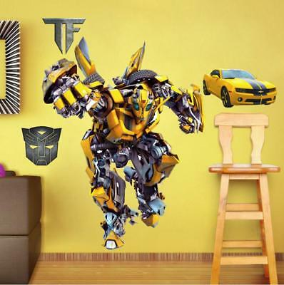 NEW 3D Transformers Bumblebee Wall Stickers Kids Home playroom Decor ...