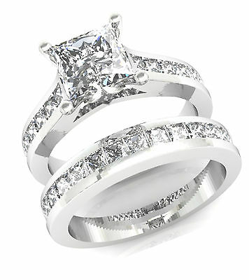 3.2ct Princess Channel Anniversary Engagement Ring Wedding Band 14k White Gold