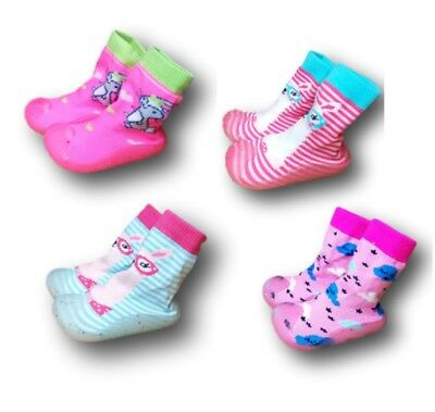 Baby Girl Indoor Outdoor Non Slip Socks Slippers With Rubber Sole Size 4-9