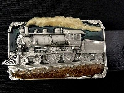 VINTAGE 1986 **STEAM ENGINE TRAIN** RAILROAD PEWTER SISKIYOU BELT And BUCKLE 40""